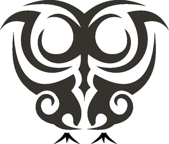Tattoo Style Trible Art OWL STENCIL Tough Reusable 350 Micron