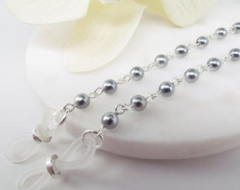 Pearl Glasses Leash in Pretty Gray and Silver, Reading Glasses Necklace, Eyeglass Holder, Pearl Eye Glass Chain, Cord for Readers