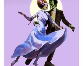FRANKENSTEIN BALLROOM DANCERS Romantic Signed Art Print by Mike Von Hoffman