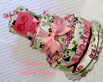 Pink Owl Baby Diaper Cake Personalized Shower Gift or Centerpiece