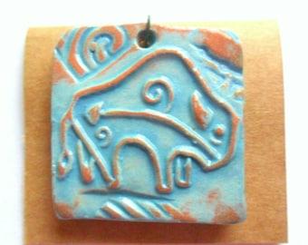 Petroglyph Buffalo Turquoise Glazed Terra Cotta Pendant Finding