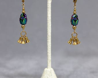 Iridescent Crystal Scarab Earrings