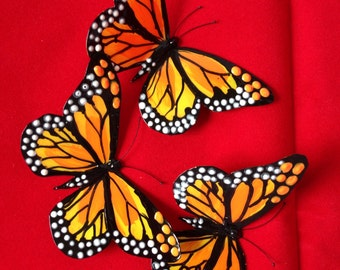 Yellow Monarch butterfly brooch or hair clip