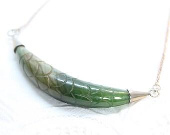 Vintage Spinach Jade Necklace, Nephrite Necklace, Artisan Handmade Necklace, Sterling Silver Necklace, Vintage Necklac-N0005