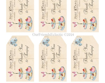Digital Tea Party tags, Thank you tags, printable Buffet Tags, You Print, digital download tags, printable tea party tags