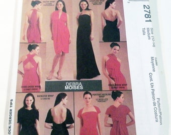 "Infinity Wrap Dress Debra Moises Maxi backless sewing pattern Size 12 14 Bust 34 36"" McCalls 2781 UNCUT FF"