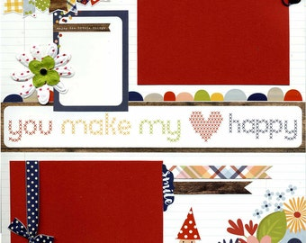 You Make My Heart Happy - Premade Scrapbook Page