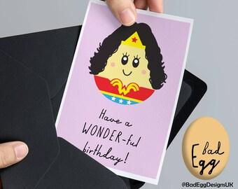"Wonder Woman Birthday Card BadEgg ""Have a WONDER-ful Birthday"" - Wonder Woman Inspired Greetings Card by Bad Egg Designs UK"