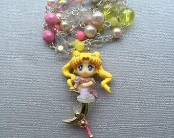 Princess Serenity // Cresent Moon Wand // Sailor Moon Beaded Necklace