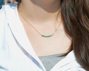 Turquoise Necklace, Gem Bar, Dainty 14k Gold Fill, Sterling Silver, Rose Gold, Green Necklace, Faceted Turquoise, Bar Necklace, Gold
