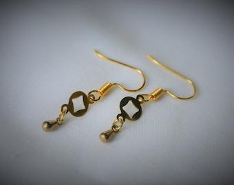 Gold Plated Earring, BRASS Charm (D#7) Dangle Earring  ~  5 mm - Women / Casual / Elegant