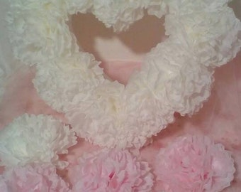 Wedding hart pompom, hart with pompom, pompom, hart decoration, white wedding hart, wedding car decoration