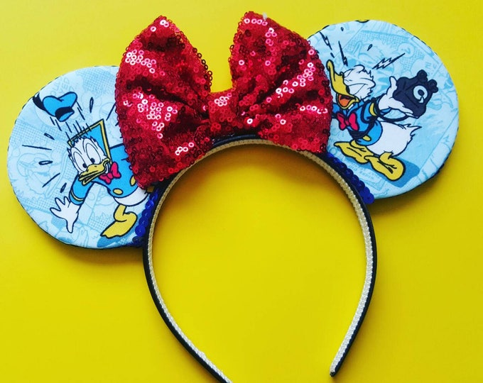 Donald Duck Mouse Ears  || Donald Ears || Mouse Ears Headband || Mickey Mouse Ears || Sparkle Mouse Ears || RTS