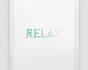 RELAX print // mint green print // modern home decor // office wall art  // minimalistic poster // relax poster