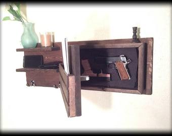 Last day sale Choose color hidden gun storage compartment coat key rack money concealment hanger shelf