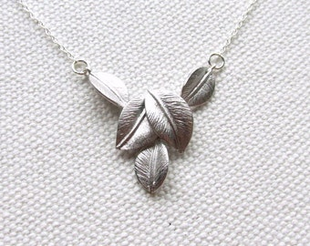 Silver Leaf Necklace Delicate Sterling Silver Chain Multiple Leaves Dainty Modern Nature Jewelry