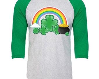 Rainbow Pot of Gold Shamrock - Unisex Tri-Blend 3/4 Sleeve Raglan Baseball T-Shirt - Sizes XS-3XL in 14 Colors!