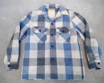 Vintage Bemidji Woolen Mills Blue & Tan Plaid Wool Men's Shirt JAC Coat Size Medium