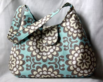 Hobo Bag - Blue and Gray Purse - Amy Butler Wallflower