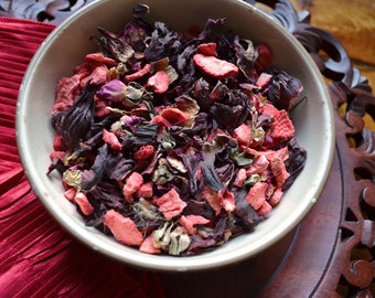 Hello Sweet Tart - Valentine's Day Gift - Herbal Tea - Hibiscus Tea - Rose Tea- Iced Tea - Strawberry Tea - Floral Tea - Loose Leaf Tea