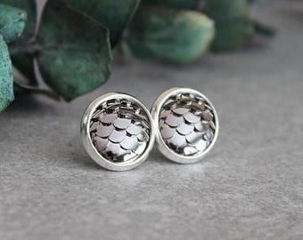 Mermaid Earrings, Gunmetal Fish Scale Earrings, Gunmetal Stud Earrings, Dragon Scale Earrings, Gunmetal Earrings, Grey Scale Earrings, 10MM