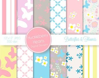 Butterflies and Flowers Digital Scrapbook Paper, Digital Background, DIY Printable Paper with Pastel Pink, Purple, Blue, Yellow