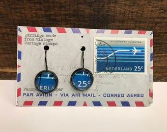 Netherlands airplane postage stamp earrings (Small 16mm)