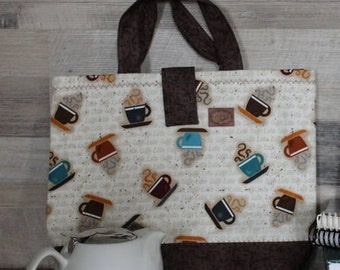 Tote, bag for knitting, quilted, lined, interlined, attached autoagrippante 32cm X 28 cm, handle 25cm, gift for her