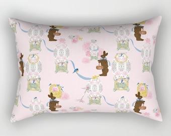 Rectangular Throw Pillow, Easter Bunny Factory