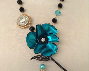 Turquoise and black flower necklace