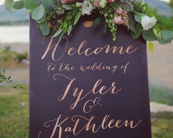 Welcome Wedding Sign,  Reception Wedding Sign, Rose Gold Wedding Sign, Navy wedding sign, Large Wedding Sign - The Kathleen