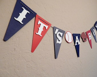 Its A Boy Vintage Baseball theme banner, small baseball baby shower banner, red white and blue baseball baby shower banner, welcome home