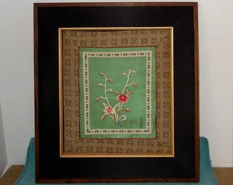 Vintage 1940's or 1950's Asian/Chinese Silk Embridered Tapestry/Textile-Dogwood or Cherry Blossom?-Framed