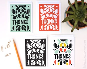 Thank You Card Set, Blank Thank Yous, Thank Yous, Floral Thank You,  Cute Thank You Cards, A2 Set of 8 Greeting Cards