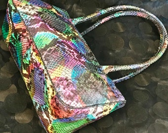 Pretty in Pink-Multicolour Genuine Leather Faux Crocodile Bag Made in Italy