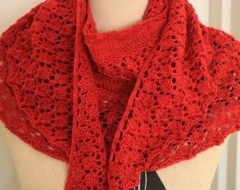 Lacy Red Handknit Shawl