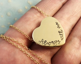 Gold Urn Necklace ~ Cremation Jewelry ~ Always by my side ~ Forever in my heart ~ Pendant ~  Pet Memorial ~ Sympathy ~ Loss ~ Bereavement