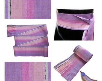 Lavender Pink Sash, SA15 - Fabric Sash Belt- Guatemalan Textiles - Bohemian Belt - Gypsy Clothing - Purple Sash - Woven Sash