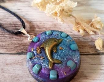 Turquoise Orgone Energy Pendant - Positive Energy Necklace - Spiritual Gift and Energy Healing Jewellery -  Dolphin - OOAK - Medium