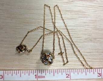 """16"""" Rhinestone Cluster Ball Necklace Gold Tone Gently Used"""