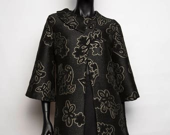 Mother's day! Unique / coat jacket / flowers/black/chic and dressy print / creative crafts and original woman/T 40