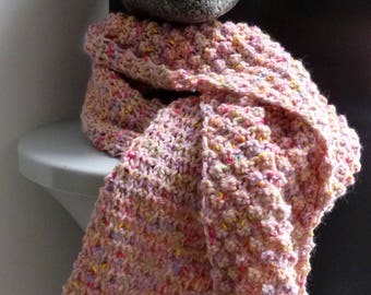Hand knitted pink scarf with buttons
