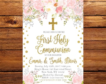 Communion invitation etsy first holy communion invitationgirl first communion invitationfloral first communion invite printable solutioingenieria Images