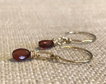 Garnet and Hammered Link Earring