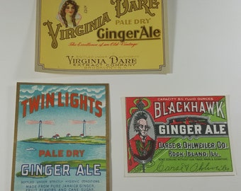 Trio of 1920s ginger ale labels