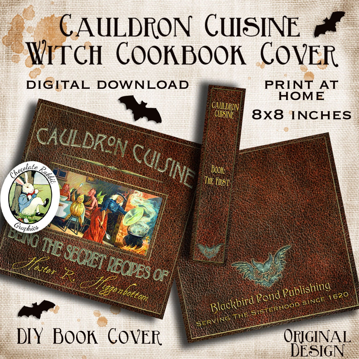 Halloween Witch Cook Book Cover Printable Vintage Digital
