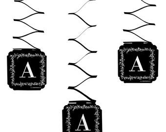 Set of 6 Floral Monogram - Hanging Decorations - Wedding Party Decorations