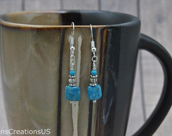 Blue Crazy Lace Agate Drop Earrings - Item 262