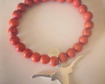 Burnt Orange Longhorn Beaded Bracelet
