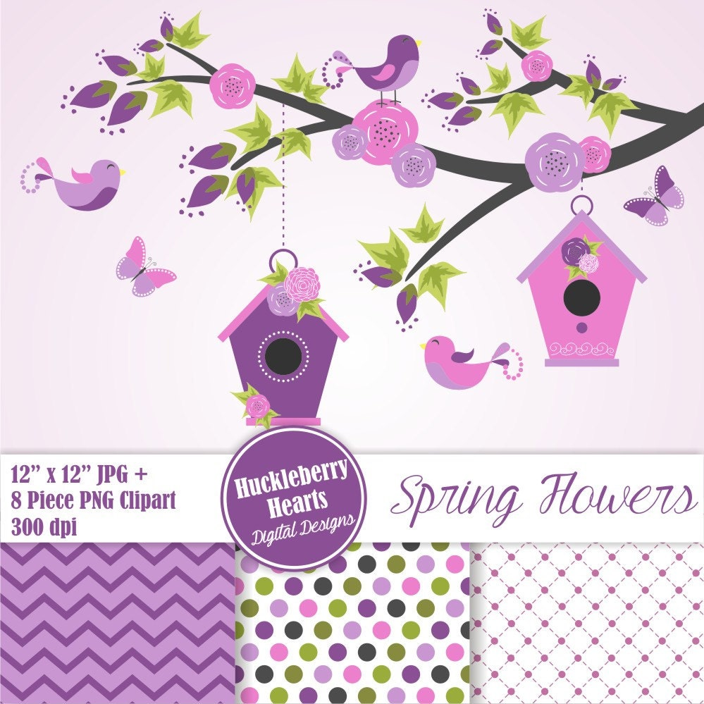 Flower Clipart Digital Flower Paper Floral Clipart Spring